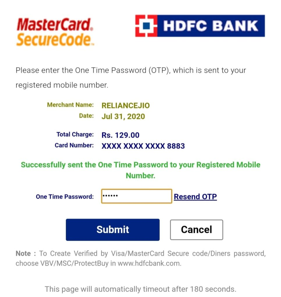 HDFC Bank OTP Page