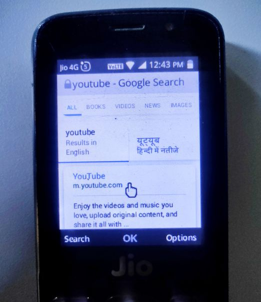 Jio Phone Google Search for YouTube