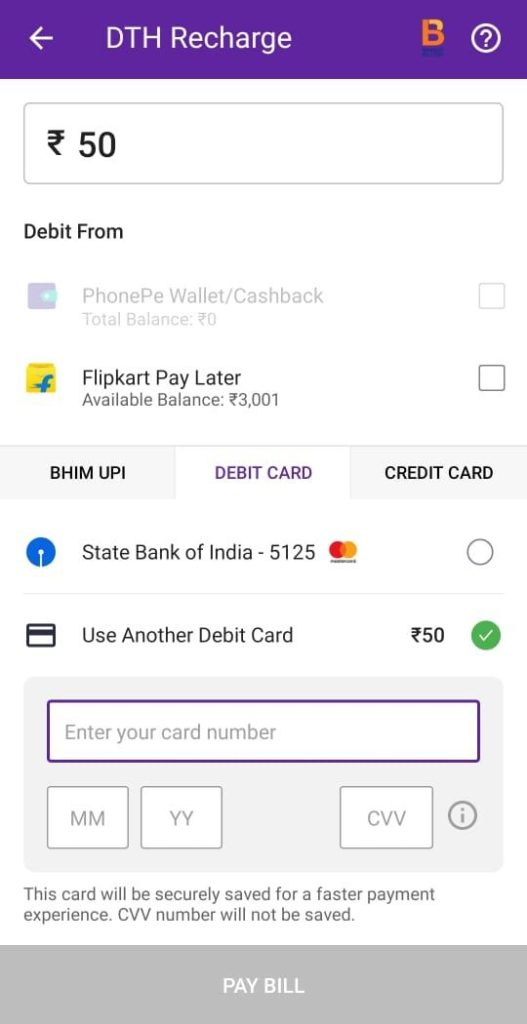 PhonePe DTH Recharge Card Details