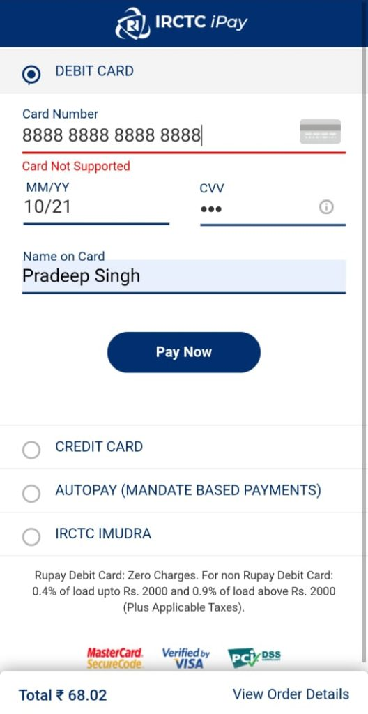 Final Payment in IRCTC