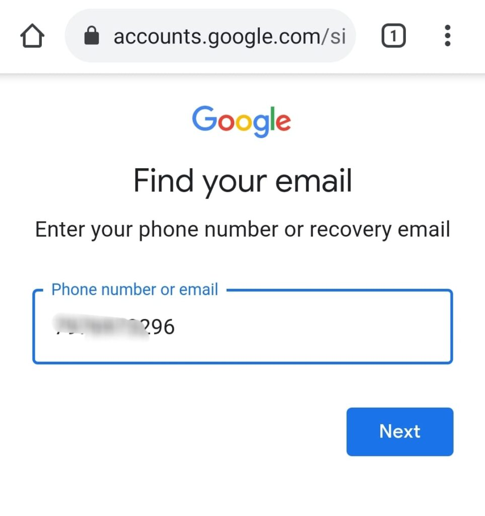 find my email id mobile number