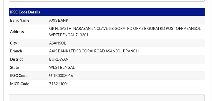 Bank IFSC Example